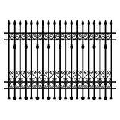 Black wrought-iron lattice fence element. Vector illustration. — Stock Vector