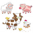 Funny farm. Cartoon pig, lamb, cow, hen and eggs, sheep, chicken. Vector illustration. e p s 1 0. — Stock Vector #64811319