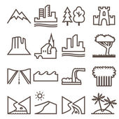Terrain, locality linear icon set. — Stock Vector