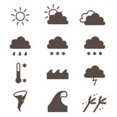 Weather icons set. Cloud, sun, precipitation. — 图库矢量图片