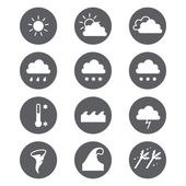 Weather icons set. Cloud, sun, precipitation. — Stockvektor