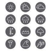 Weather linear icons set. Cloud, sun, precipitation. — 图库矢量图片