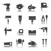 Construction tools. Repair icons. Vector set. Shadow reflection — Stock Vector