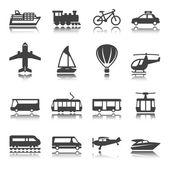 Transportation icon set. Silhouette. Shadow reflection. Vector set. — Stock Vector