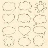 Set of speech bubbles. Vintage paper, vector illustration — Stock Vector