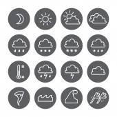 Weather linear circle icons set. Cloud, sun, precipitation — Stockvektor