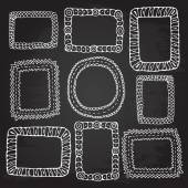 Rough outline, set, picture frames, hand drawn banners, chalkboard. Openwork tags. — Stock Vector