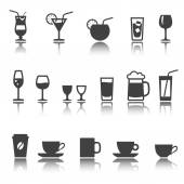 Set of icon. Glassware for beverages. Cocktails, glasses and cup. shadow reflection. e p s 1 0 — Stockvector