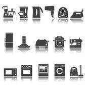 Home appliances, electronics icons, shadow reflection. Vector set. e p s 1 0 — Stock Vector