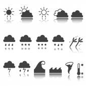 Weather icons set. Cloud, sun, precipitation. shadow reflection. e p s 1 0 — Stockvektor
