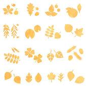 Silhouette leaves, vector set — Stock Vector