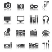 Audio video tv equipment icon, shadow reflection, e p s 1 0 — Stock Vector