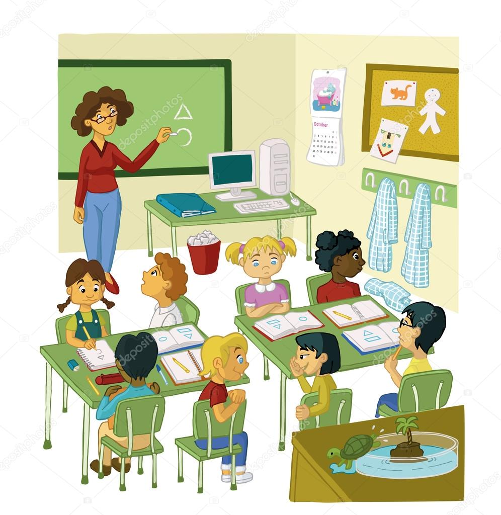 Primary Class With Pupils And Teacher Stock Vector