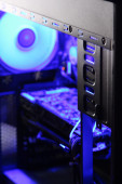 Parts of the casing in neon light, selective focus — Stock Photo