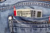 Dollar jeans pencil — Stock Photo