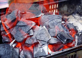 BBQ charcoal grill fire — Stock Photo