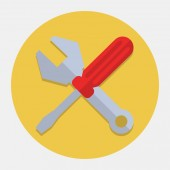 Screwdriver And Wrench,Settings Flat Icon — Stock Vector