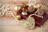 Christmas composition on wooden background in vintage style — Zdjęcie stockowe
