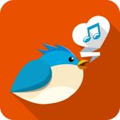 Vector Blue Bird Sing — Stock Vector