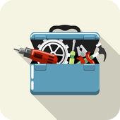 Vecteur de boîte à outils avec outils — Vecteur