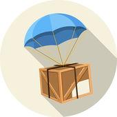 Vektorové padák s dřevěný box — Stock vektor