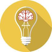 Vector Brain in the Light Bulb — Stock Vector