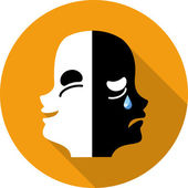 Vector Comedy and Tragedy Theatrical Masks — Vetorial Stock