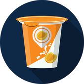 Vector Fruit Yogurt in Plastic Box Flat Illustration — Stock Vector
