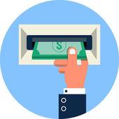 Vector ATM, Money Withdrawal Flat Illustration — Stock Vector