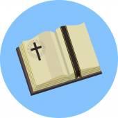 Vector Open Bible Flat Illustration — Stock Vector