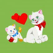 Kedi ve yavru kedi — Stok Vektör