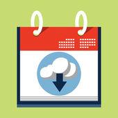 Cloud Download Icon on Calendar — Stock Vector