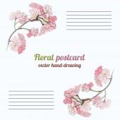 Vector hand-ritning blommig vykort — Stockvektor