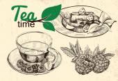 Tea and raspberries illustration — Vettoriale Stock