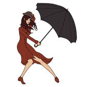 Young  woman holding an umbrella against the wind. Vector illustration — Stock Vector