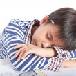 A young boy doing homework on a white background. — Stock Photo #52846565