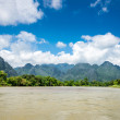 Surreal landscape by the Song river at Vang Vieng, Laos — Stock Photo #55523021