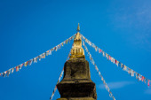 pagoda tying up  flag with sky background — Stock Photo