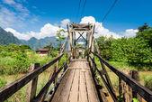 Wooden Bridge in Vang Vieng,Laos — Stock Photo