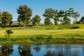 Bewässerung in golfplatz — Stockfoto