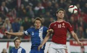 Hungary vs. Finland UEFA Euro 2016 qualifier football match — Stock Photo