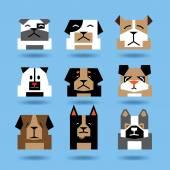 Many head dogs minimalist — Stock Vector