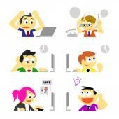 Business people and various behavior in office — Stok Vektör