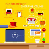 Vector Flat Icons Set Infographics about E-Commerce and Shopping — Cтоковый вектор