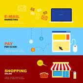 E-Mail Marketing, Pay per Click, Shopping Online. Business Econo — Stock Vector