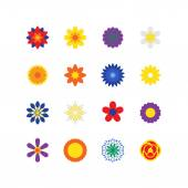 Vector Flower Icons Set for Pattern Work in Isolated Background. — Stock Vector