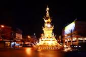 Chiang Rai clock-tower entertaining performance have lights and colors — Stock Photo