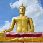 Golden Big Buddha statue image of Wat Bangchak Temple — Stock Photo #68852425