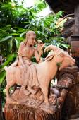 Traditional Thai style wood carving as one of 12 Zodiac — Stock Photo