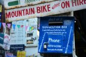 Suggestion box about travel install at thamel market — Stock Photo